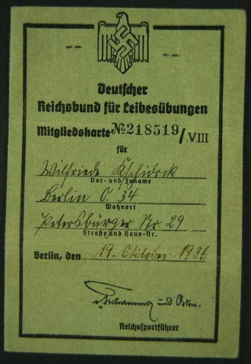 """DRL/ Carné de Socia del """"Berliner Sport Club E.V."""""""