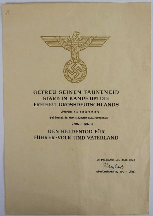 WH/ Certificado de Honor para un Héroe Caído