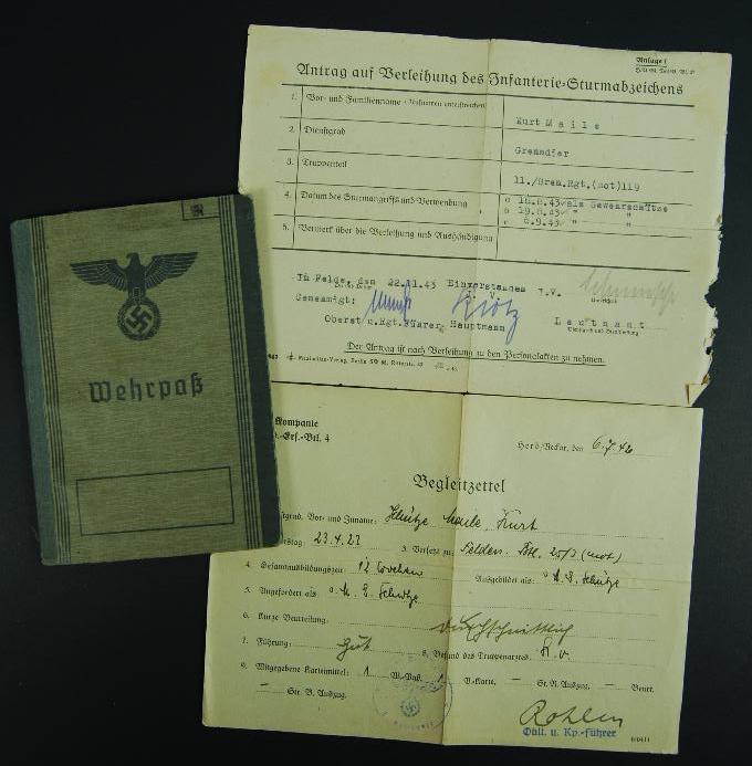 Wehrpass/ Inf Regt Mot 119,Pz Gren Div 25