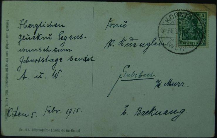 Tarjeta Postal Alemana de 1915