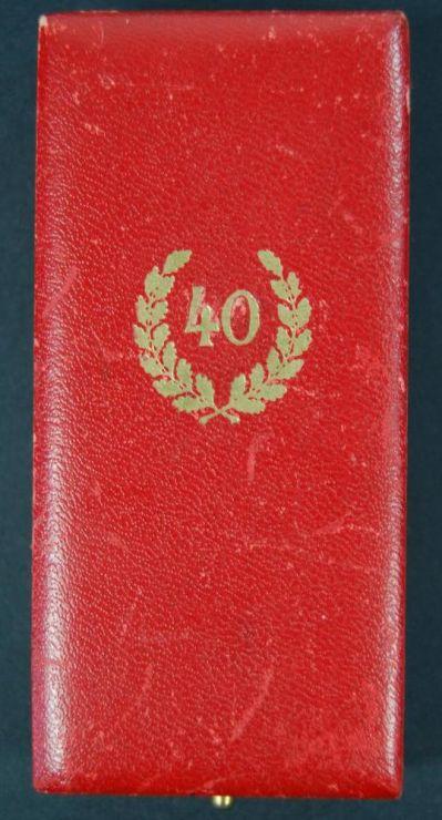 """NSDAP/ Estuche Medalla """"40"""" Años de Servicios"""