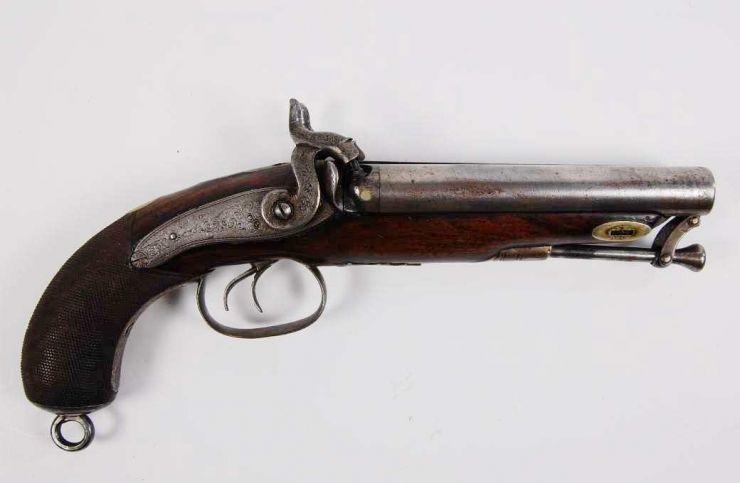 Pistola Militar Inglesa de Percusión de Doble Cañón