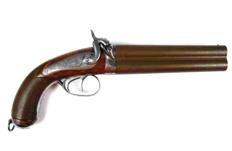 """Pistola Militar de Cañones Superpuestos Firmada """"F.P. Devisme a París"""" circa 1845"""
