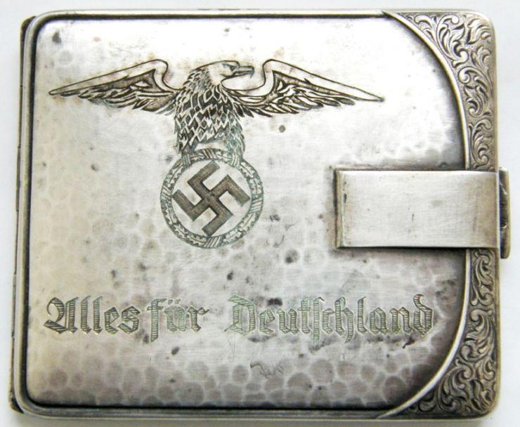 """NSDAP/ Pitillera de """"Alpaca"""" con Dedicatoria"""