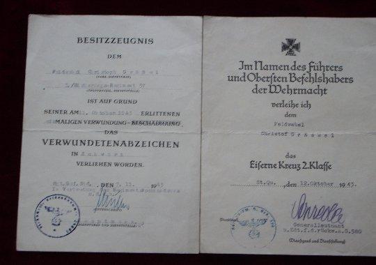 Conjunto de 2 concesiones a un sargento aleman (feldwebel).