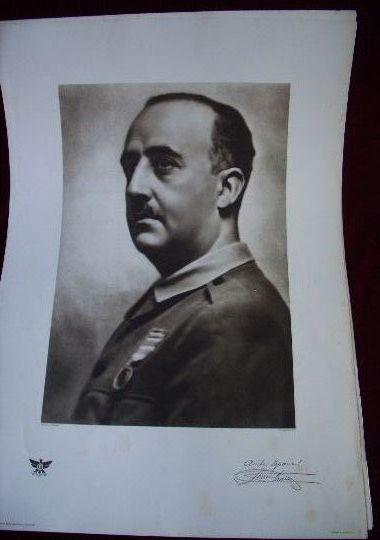 Lámina retrato oficial original de Franco de guerra civil.