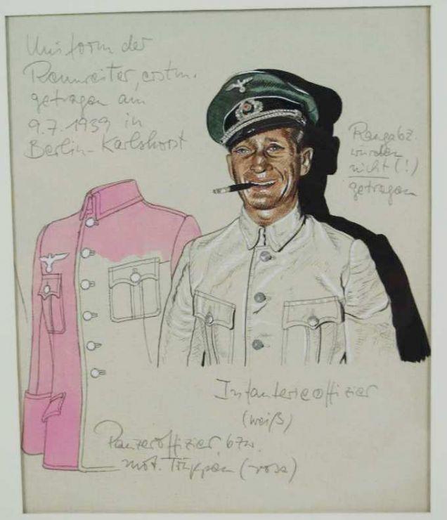 Dibujo Original de un Oficial de Infantería