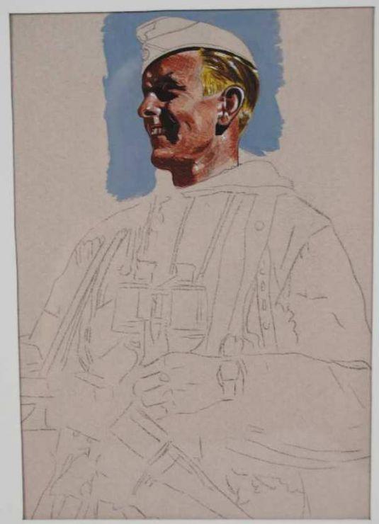 Boceto Original de Oficial en Uniforme de Invierno