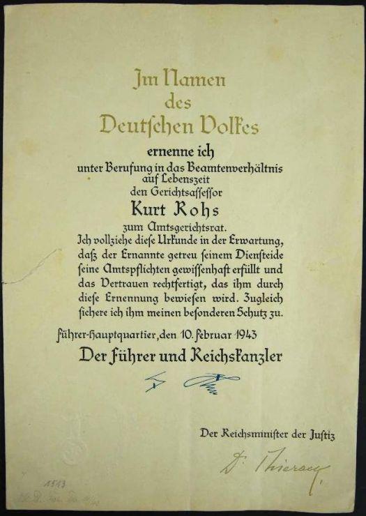 "Documento con Firma Faccímil de Hitler y Firma Autografa de ""Otto Georg Thierack"""