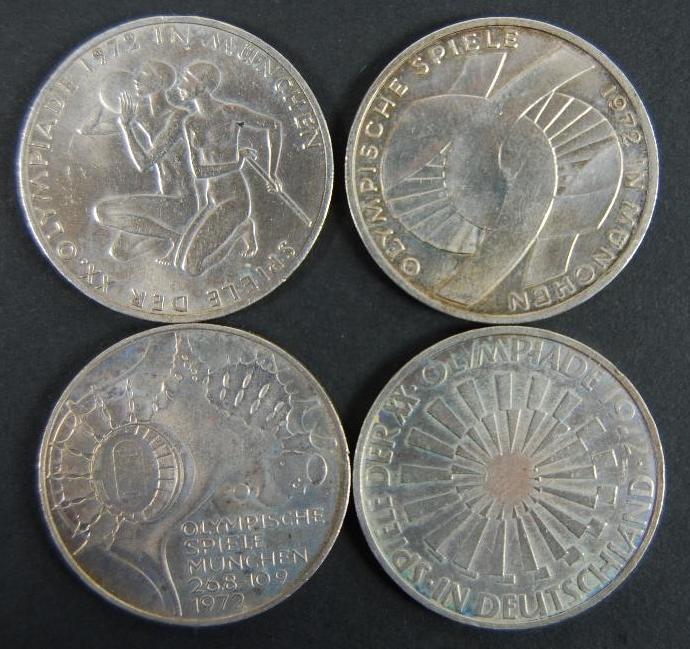Cuatro Monedas de Plata de los Juegos Olímpicos de 1972