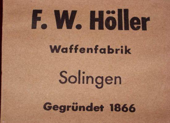 """Sobre de Entrega para Sable del Heer, """"F.W. Höller"""""""