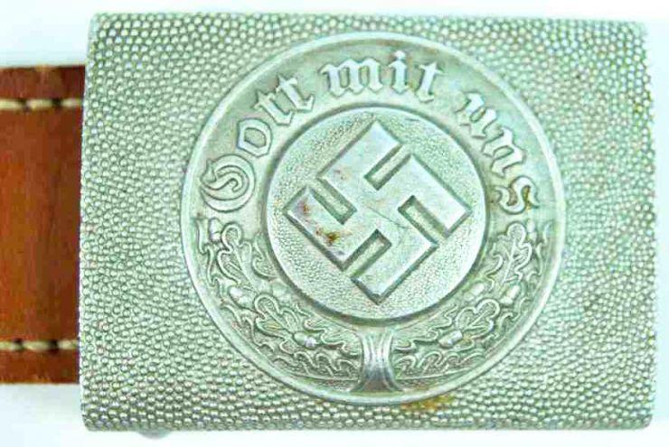 Hebilla de Suboficial de Policía con Lengüeta de Cuero de 1938