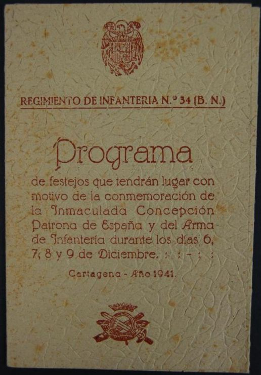 """Tríptico de Festejos del """"Reg. de Infantería nº 34 """""""
