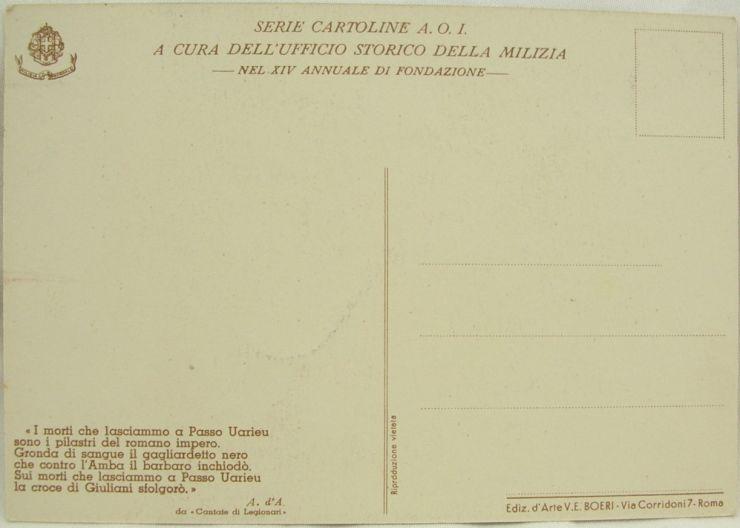 """Postal """"2ª Divisione CC. NN. 28 ottobre"""", 1936"""