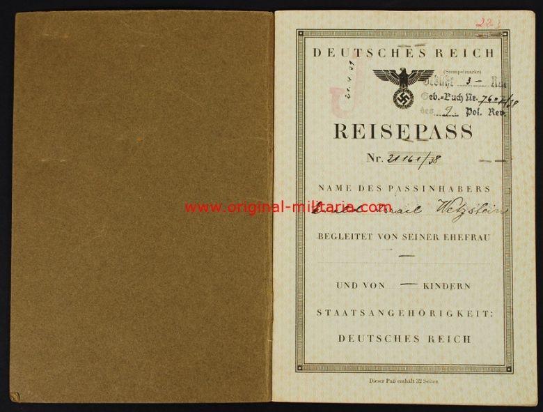 """Pasaporte Alemán de 1939 Marcado """"Judenstempel"""""""