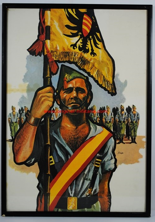 Cartel Propagandistico Original Enmarcado de la Legión de Delfín Salas