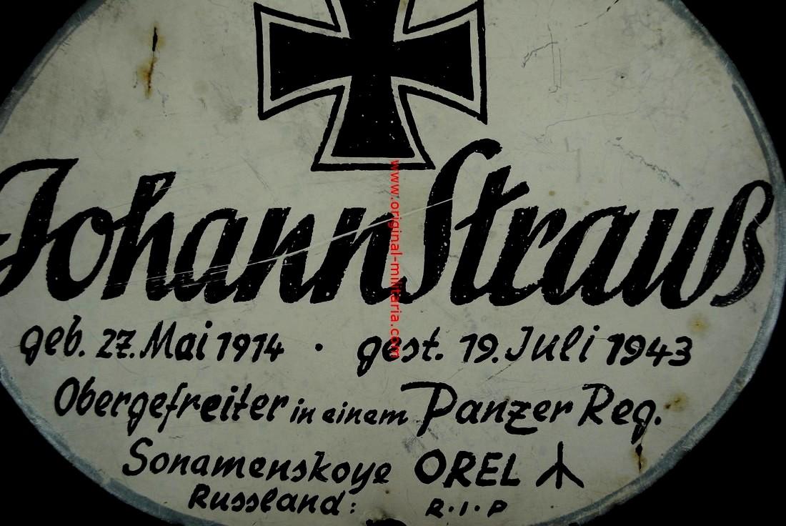 WH/Pz- Chapa para Lápida de un Obergefreiter de Tropas panzer