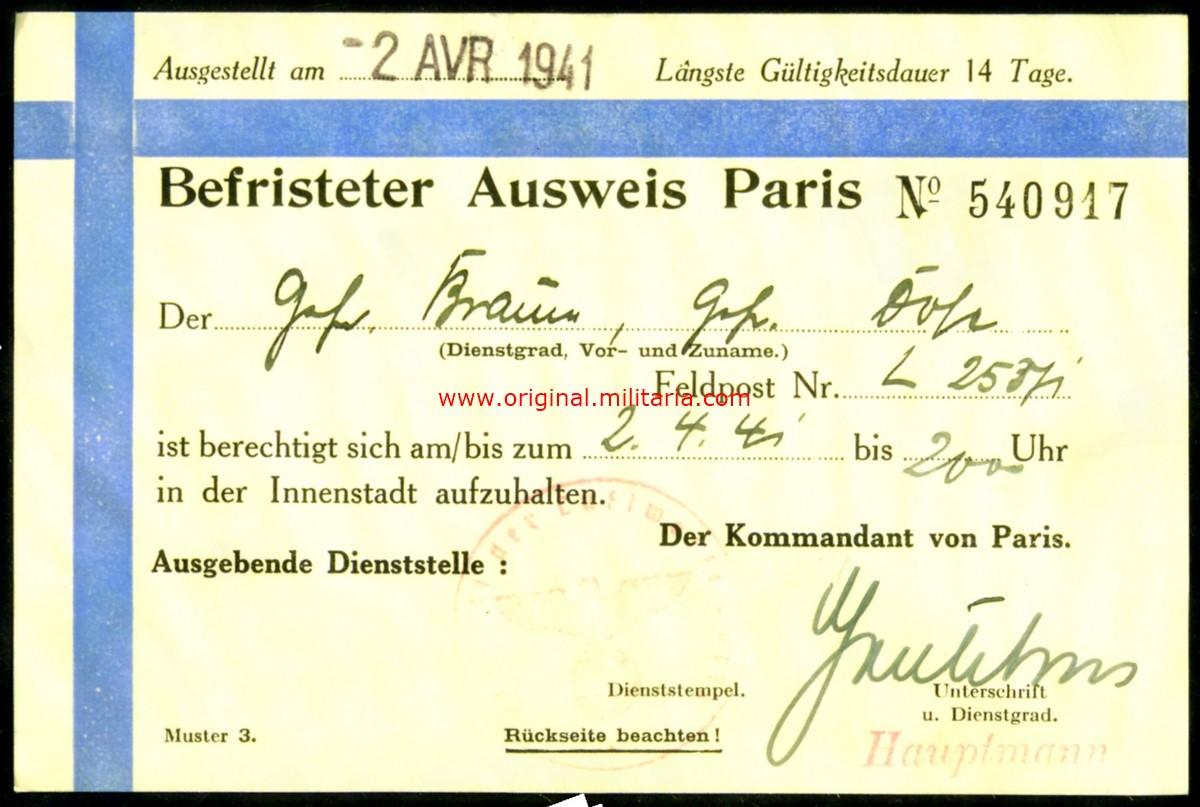 """Pase Temporal """"Der kommandant von Gross-Paris"""""""