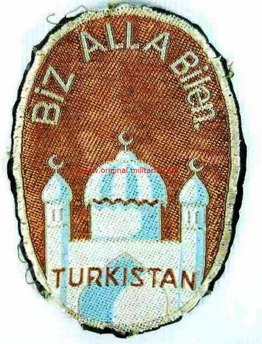 """Waffen SS, Tercer Modelo del Escudo de Brazo de la División SS """"Turkistan"""", Tropical."""