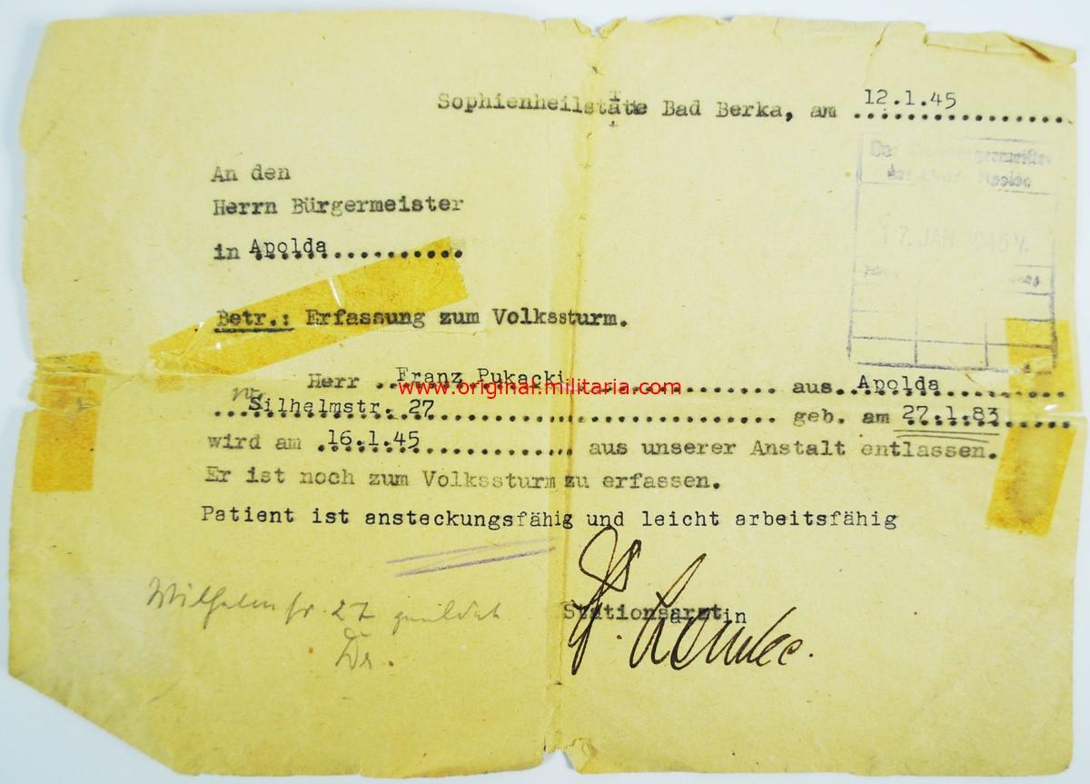 WH/Volkssturm, Conjunto de Documentos y Brazalete 2º Modelo