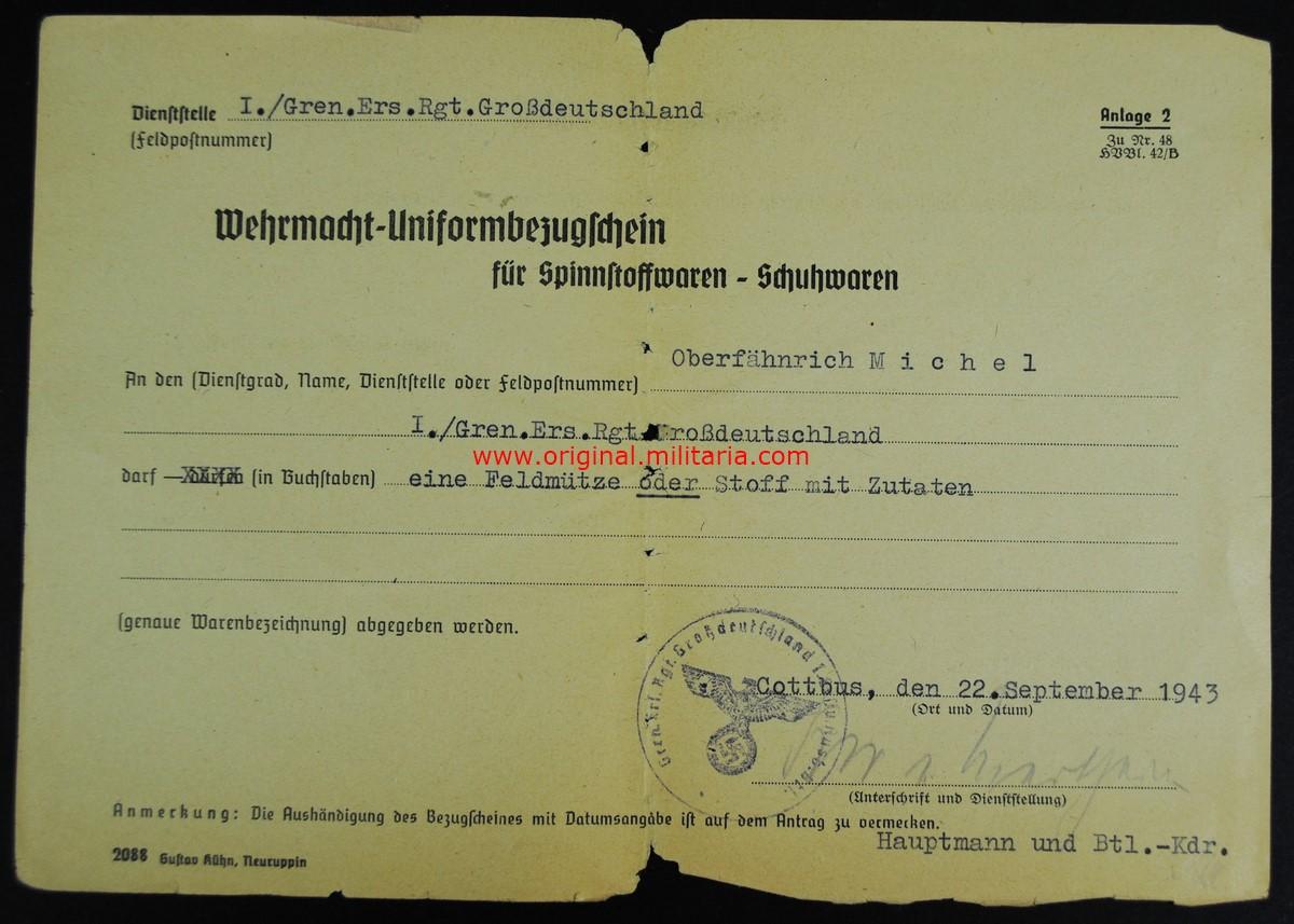 """Orden de Compra de Uniforme y Calzado """"Rgt. Großdeutschland"""""""