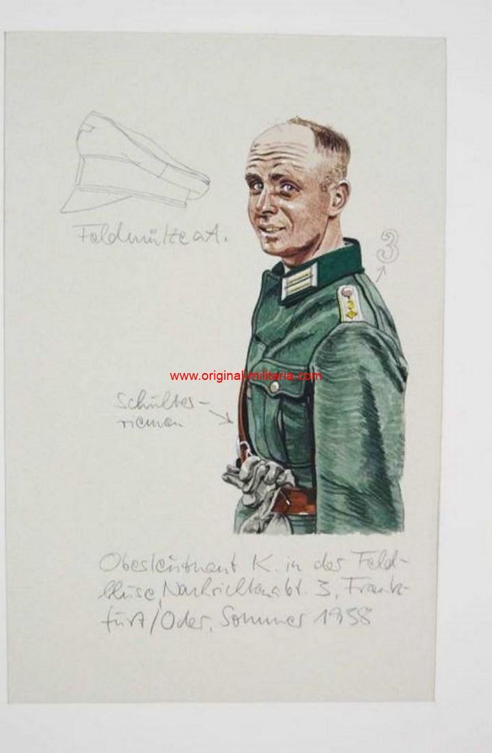 Dibujo Original de Oficial de Caballería de la WH