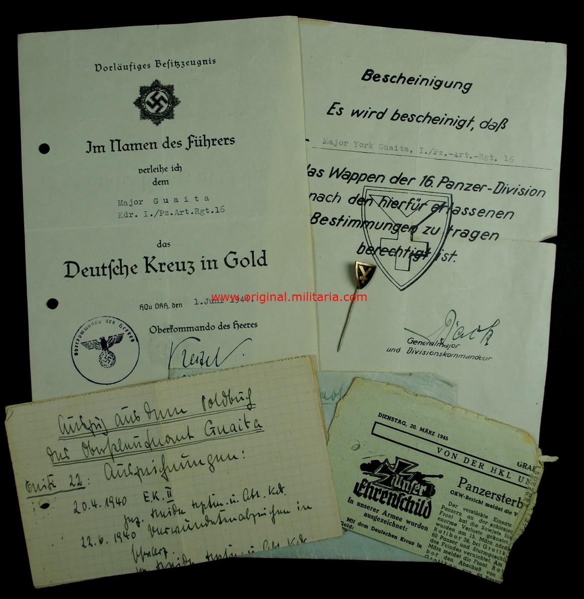 """WH/Pz Concesiones, Documentos y Aguja del Camandante """"York Guaita"""", I./Pz-Artill-Reg.16"""