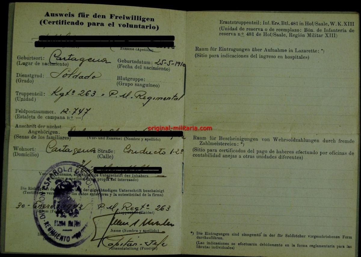 """WH/DA, Personalausweis, Concesiones y 17 Documentos de un Soldado del """"Rgt. 263, Vierna"""""""
