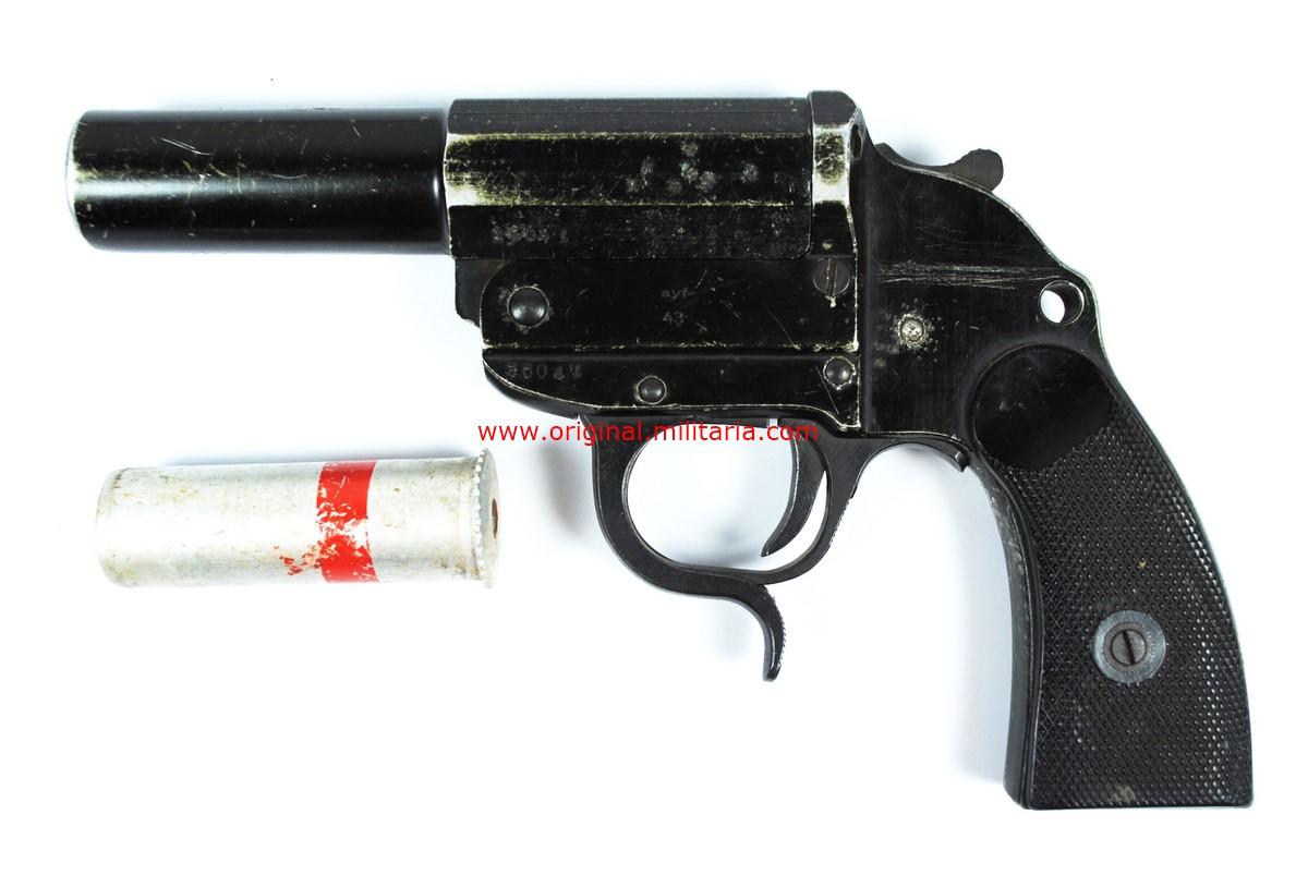 """WH/ Pistola Lanzabengalas de 1943 de """"ayf"""",con Bengala Roja sin Usar"""