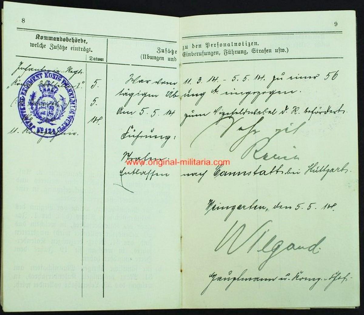 """WW1/ Carnet Militar de un Soldado de Infantería de Rgt. """"könig willem I"""""""