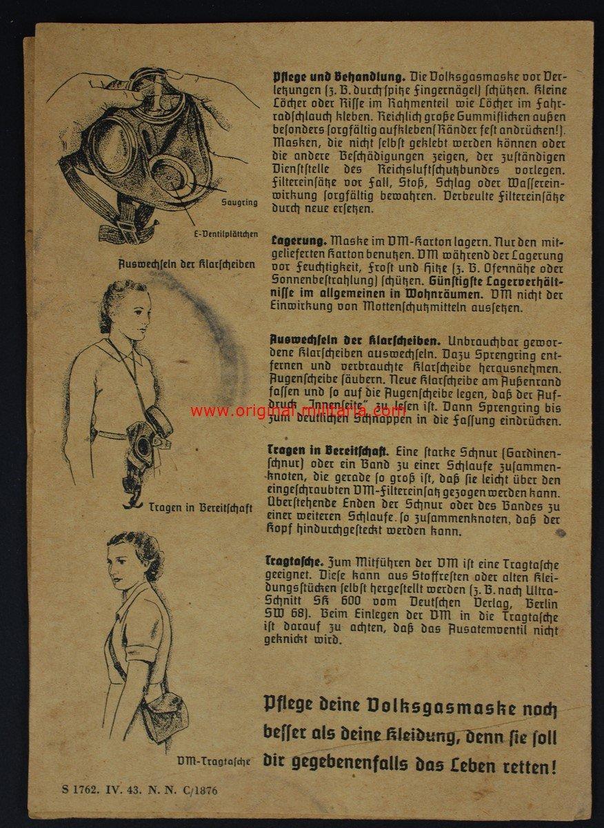 Caja con Mascara Civil de la Luftschutz y Libro de Instrucciones