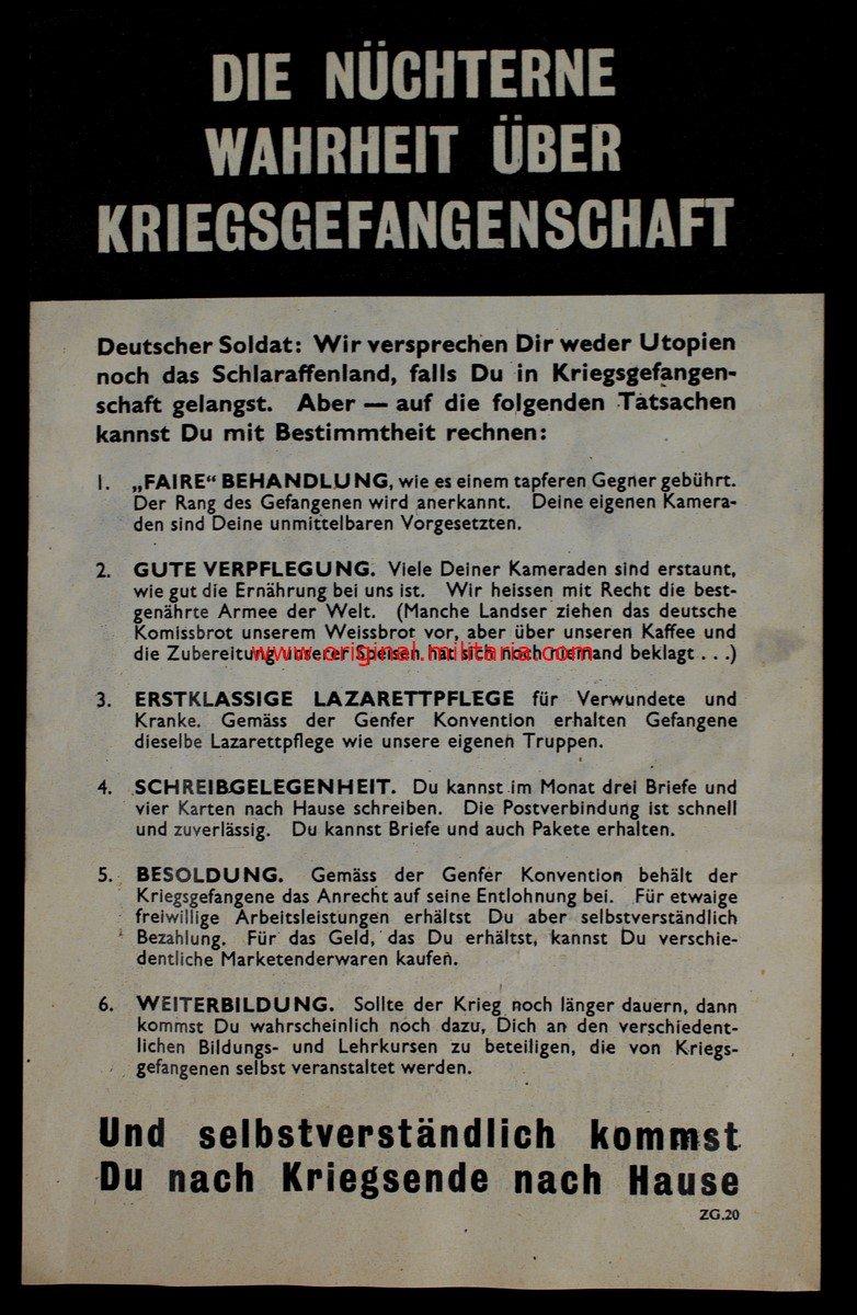Folleto Propagandístico Impreso y Emitido por USA tras la Caída de Cherburgo en Normandía